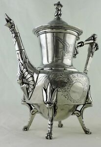 Antique Silver Plated Coffee Tea Pot Japanesque Asian Aesthetic Bird Etched