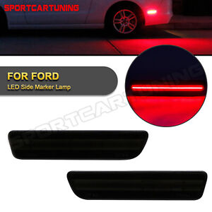 For 2005 2009 Ford Mustang Led Side Marker Lamp Smoked Lens Red Rear 2pcs
