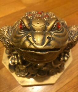 Frog Statue Toad Ingot China Chinese Very Heavy Gold Lacquer Luck Money Healing