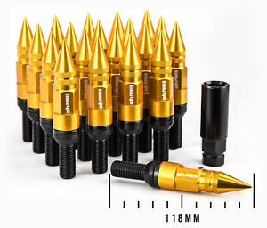 Set Of 20 Aodhan Gold 14x1 5 Lb118 Spiked Lug Bolts 118mm Conical 28mm Shank
