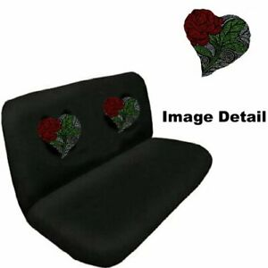 Red Rose With White Heart Cute Studded Rhinestone Bench Seat Cover