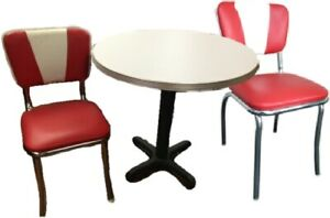 Retro Table And Chair Sets metal Edge Tables
