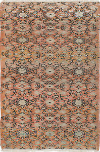 Hand Knotted Turkish Carpet 4 1 X 6 1 Melis Vintage Traditional Wool Rug
