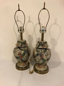A Pair Of Asian Porcelain Crackled Ginger Jar Table Lamps