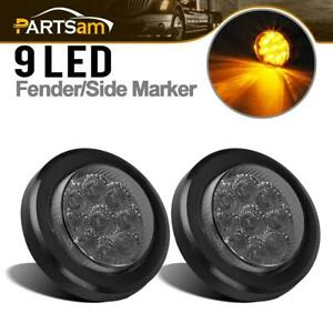 2x 2 Inch Round Amber Led Side Marker Clearance Lights 9 Diodes Smoke Lens 12v