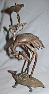 Vintage Japanese Bronze Candlestick Crane On Dragon Turtle With Lotus Flowers