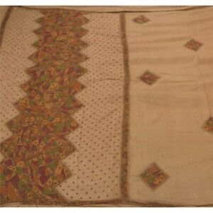Sanskriti Vintage Cream Saree Pure Silk Hand Beaded Craft Fabric Premium Sari