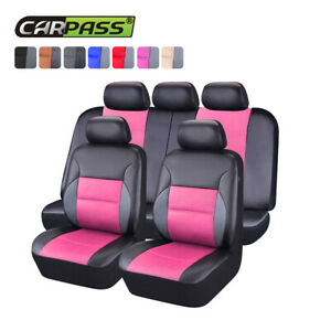 Universal Leather Car Seat Covers Car Pink Breathable For Truck Suv Sedan Van
