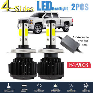 4 Sides H4 9003 Cree Led Headlight Bulbs Kit High Low Beam Motorcycle 6500k 120w