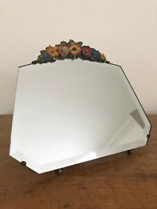 Pretty Vintage Barbola Mirror Bevelled Glass And Upright Stand