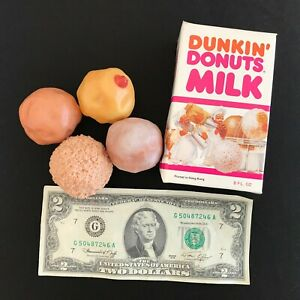Realistic Fake Play Food 1987 Dunkin Donuts 4 Hole Munchkin Balls Milk Box