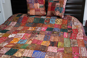 Vintage Indian Sari Beaded Embroider Bedcover Bedspread 80 X78 Or Tapestry