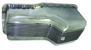 Sb Ford Sbf Polished Finned Aluminum Front Sump Oil Pan 289 302 5 Qt Mustang V8