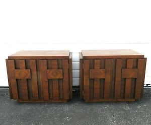 Brutalist Mid Century Modern Pair Of Nightstands Side End Tables By Lane 9508
