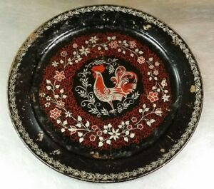 Antique Tole Painted 19 Round Tray Charger Folk Art Rooster Silver Red Black