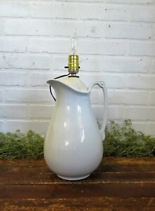 Antique Burgess Goddard 12 Large White Ironstone Pitcher Lamp Works