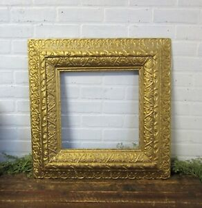 Antique Large Wood Gold Gesso 24 X 24 Picture Painting Frame