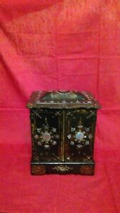 Antique Victorian Black Lacquer With Mother Of Pearl Jewelry Box