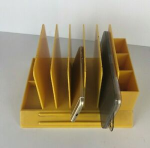Vtg Max Klein Desk Organizer Yellow gold Retro Office Mail Pencil Pen Holder