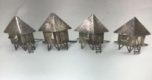 Vintage Sterling Silver Beach Tiki Huts Place Card Holders Set Of 4 M28