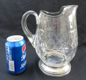 Vintage Large Sheffield Sterling Silver Glass Crystal Water Pitcher 9 1 4 H