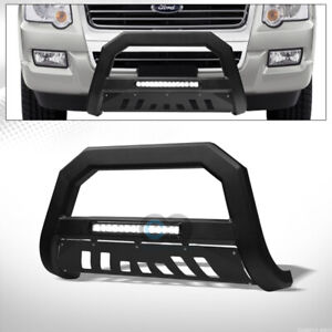Fit 06 10 Ford Explorer Matte Black Avt Aluminum Led Light Bull Bar Grille Guard