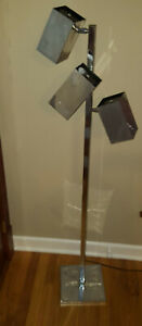 Koch Lowy Vintage Mid Century Cube Arm Chrome Floor Lamp Omi
