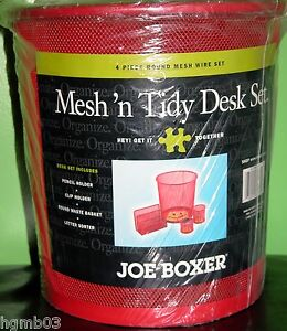Joe Boxer Smiley Happy Face Mesh n Tidy Desk Set Organizer Red And Notepad