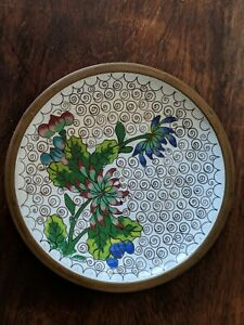 Chinese Cloisonne Flower Decorated Dish Plate