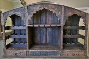 Antique Carved Wood Backbar Counter Top Wine Cabinet Shelf Gothic Arch Lattice
