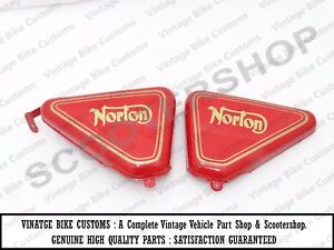 Norton Commando Roadster Red Painted Tool Box Oil Tank Side Panel Set us