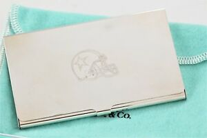 Tiffany Co Silver Plate Dallas Cowboys Business Card Holder W Packaging
