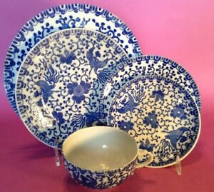 Phoenix Flying Turkey 5 Pc Place Setting Blue And White Transferware Japan