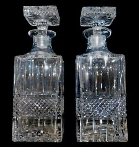 Pair Set Of 2 Vintage Square Crystal Glass Whiskey Bar Decanters W Stoppers