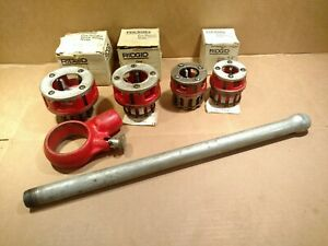 Ridgid 111 r Threader Die Heads Complete W Ratchet Handle lot Of 4 Die Heads