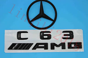3d Gloss Black C63 Amg Trunk Logo Sticker Decal Emblem Badge Package For W205