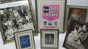 Lot 6 Vintage Mid Century Ornate Gold Tone Metal Brass Picture Photo Frames