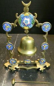 Antique Oriental Enameled Brass Dinner Bell 8 83 X 7 X 2 Excellent Condition