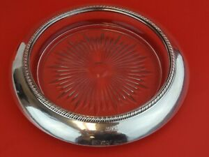 Sterling Silver Rim And Glass Huge 8 5 Inch Coaster Wine Champagne
