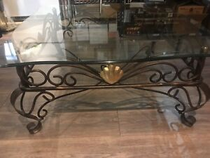Vintage Wrought Iron Scroll Coffee Table With A Beveled Glass Top
