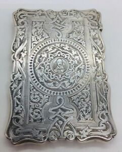 Aston Son Antique English Sterling Silver Ornate Card Case