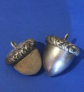 Antique Acorn Sterling Chatelaine Thimble Holder Pin Cushion Emery