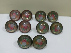 Lot Of 10 Antique Victorian Brass Glass Curtain Tie Backs
