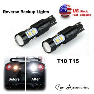 2x High Power White T10 50w Cree Led Bulbs For Car Backup Reverse Lights 912 921