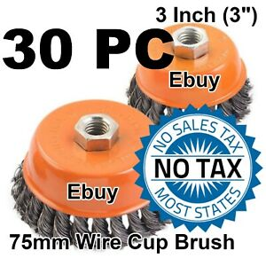 30 Pc 3 Twist Cup Wire Brush 5 8 Knot Wire Cup Brush Fits Most Angle Grinder