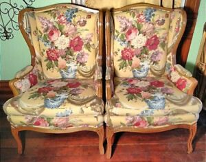 Pair Custom Upholstered Louis Xvi French Provincial Chairs Bergere Yellow Floral