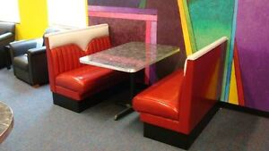 2 New Hot Rod Diner Booths Plus Metal Edge Table With Base Restaurant