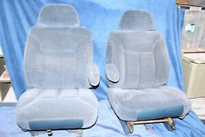 95 99 Gmc Sierra Chevy Suburban Silverado Truck Bucket Seats Blue Cloth Power