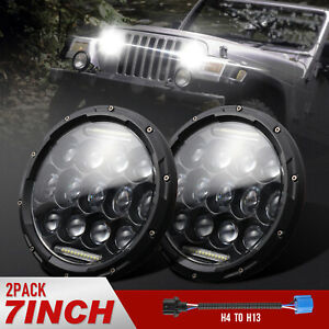 2 pack 7 105w Round Led Headlight Hi low Sealed Beam For Jeep Wrangler Tj Jk Cj