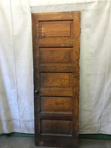 Single Rised 5 Panel Wood Door Reclaimed Antique 27x80